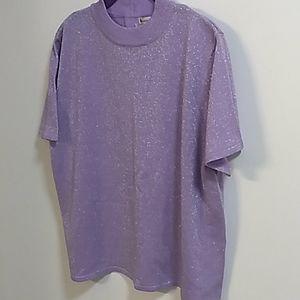 Draper's & Damon's Purple Shimmer Mock Neck Blouse